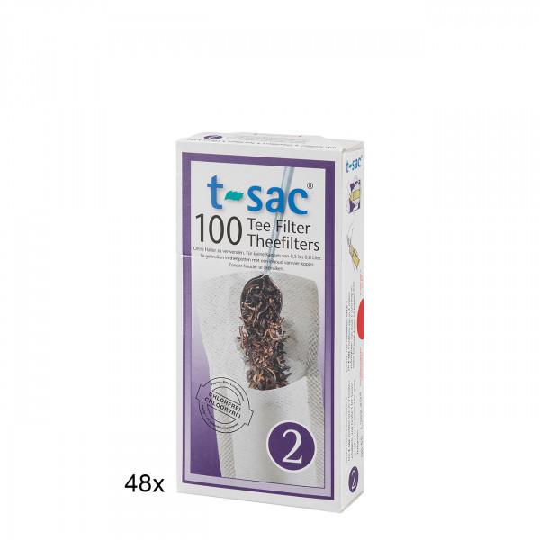 t-sac Papier-Teefilter Größe 2 (für Teekanne 0,5 bis 0,8 l) BigPack 48 Pckg.