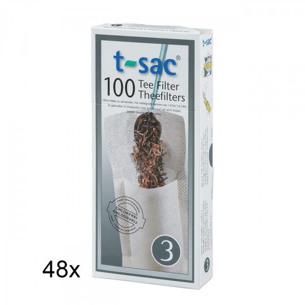 t-sac Papier-Teefilter Größe 3 (für Teekanne 1,0 bis 1,6 l) BigPack 48 Pckg.
