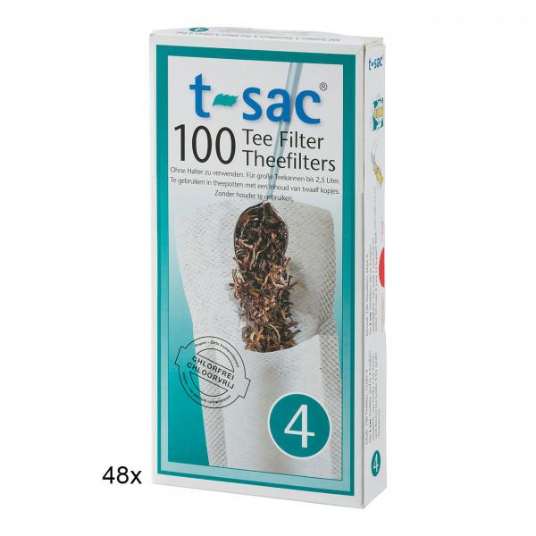 t-sac Papier-Teefilter Größe 4 (für Teekanne 1,7 bis 2,5 l) BigPack 48 Pckg.