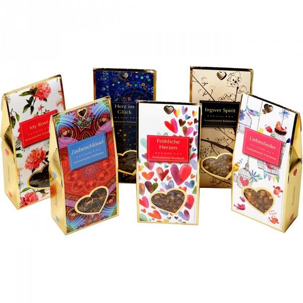 Goldenes Herz mit 6 ausgesuchten Teesorten und Kandisstangen / Teegeschenk